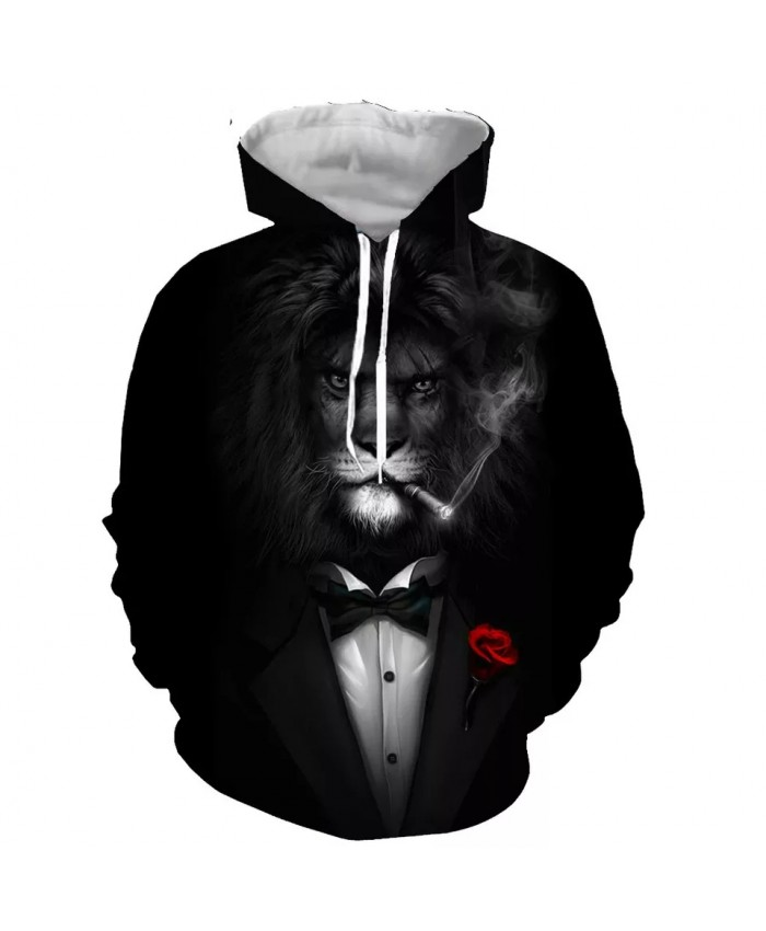 The gentleman lion Fashion Long Sleeves 3D Print  Hoodies Sweatshirts Jacket Men women