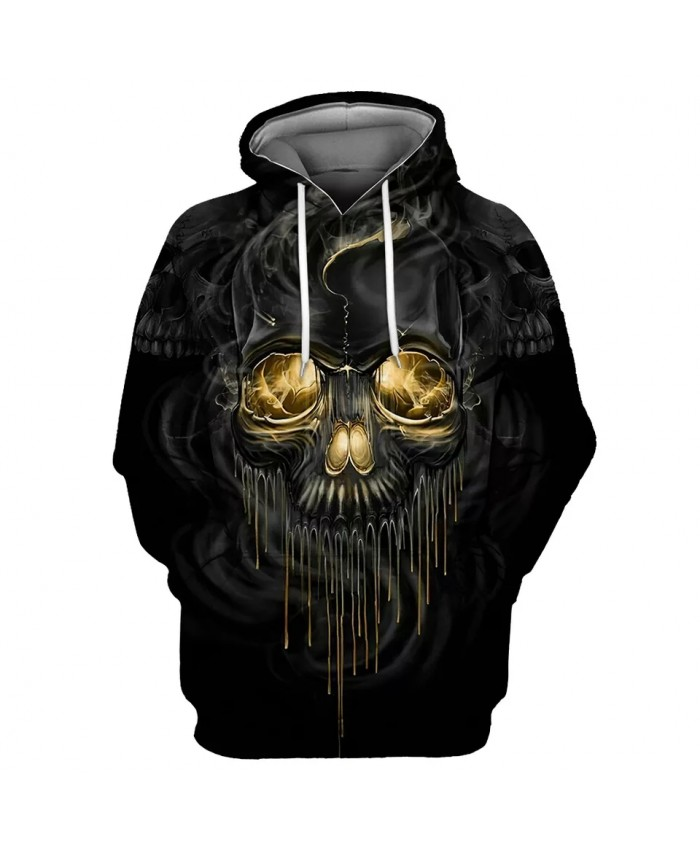Cool 3D hooded sweatshirt with black metallic skull print with dripping yellow paint