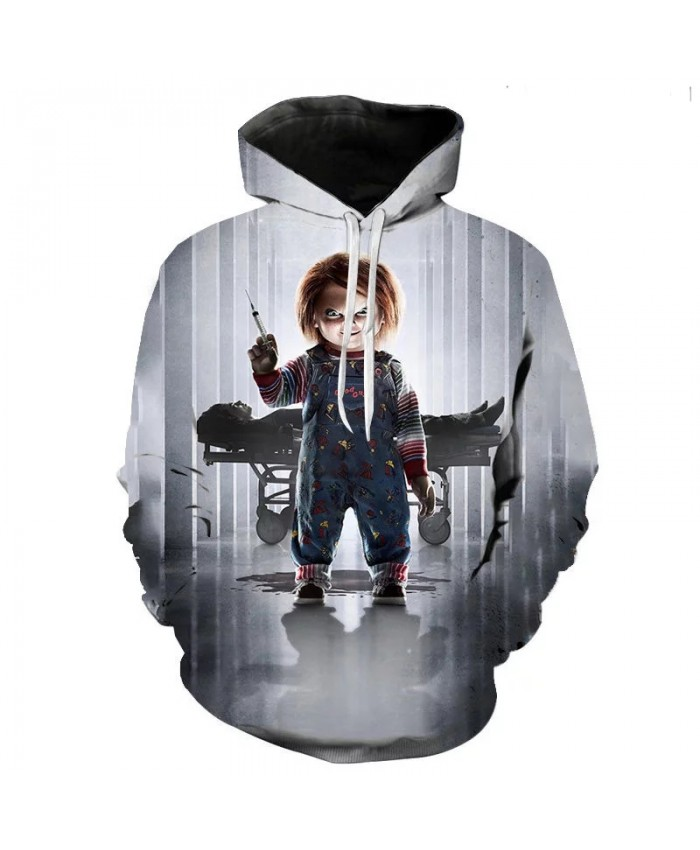 Autumn New Men's And Women's Fashion Hoodie 3d Printing Sweatshirt Pullover Long Sleeve Children's Horror Pattern Fashion Coat