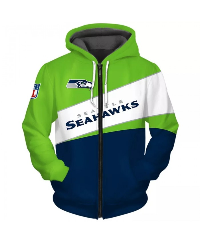Seattle Fashionable American Football Seahawks Zipper hoodies Green white navy stitching letter print casual sweatshirt 2