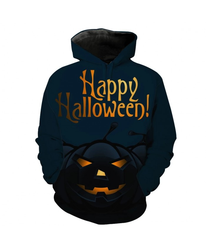 Men's Fashion 3D Hoodie Halloween series pumpkin lantern print black hoodie