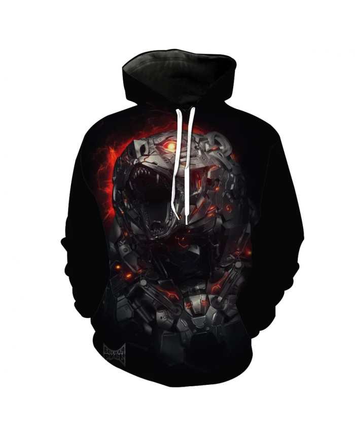 Men's Fashion 3D Hoodie Lava black metal tiger print sweatshirt