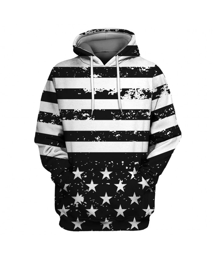 black and white stripes stitching five-pointed star print fun 3D hooded sweatshirt