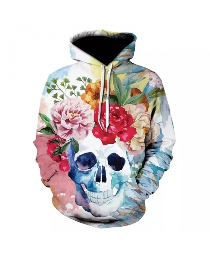 Amazon explosion models skull head 3D color digital print hoodie men  women with the same paragraph head cap pocket sweatshirt
