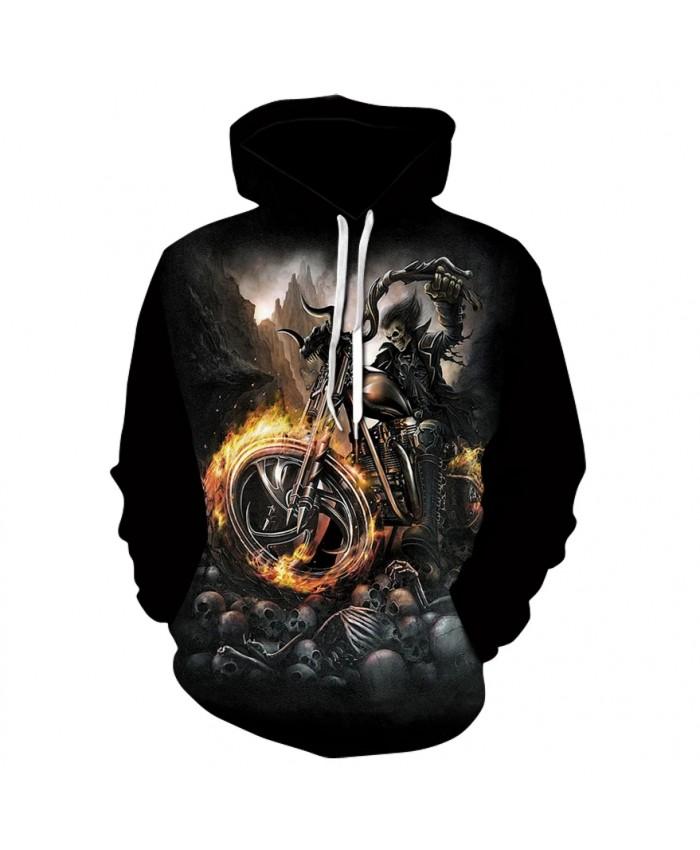Spring fall new motorcycle skull print hoodie sweatshirt 2021 fashion men's and women's street wear hip-hop hoodies