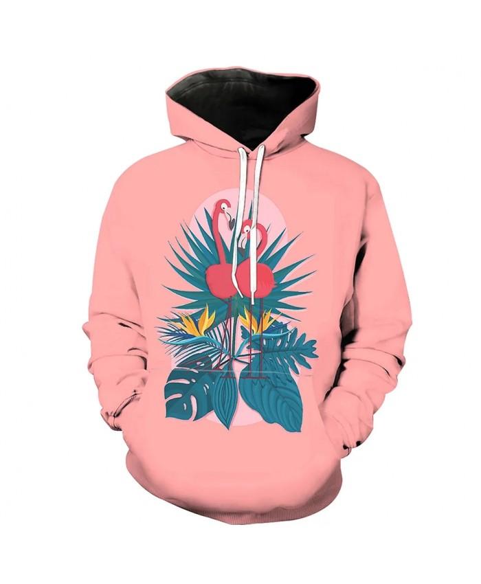 Men's Fashion 3D Hoodie Green leaves yellow flowers flamingo print sweatshirt
