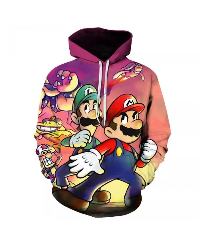 Classic cartoon characters Mario Bros. Rocky 3D printed jacket men and women casual street clothing hoodies men clothes Harajuku