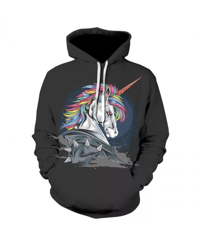 Stylish high quality casual long-sleeved horse print street wear thin hooded sweatshirt 3D animal print floral hoodie