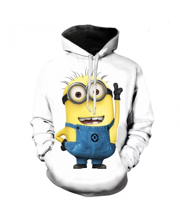 Autumn And Winter Cartoon Little Yellow Man 3d Printed Men's And Women's Hoodies Hip-Hop Boys And Girls Fashion Pullover Coat