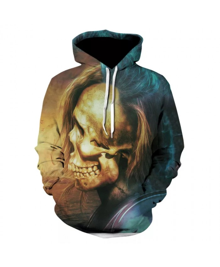 Men's long sleeve skull series personality casual hoodie fashion trend with hooded collar sports hoodie