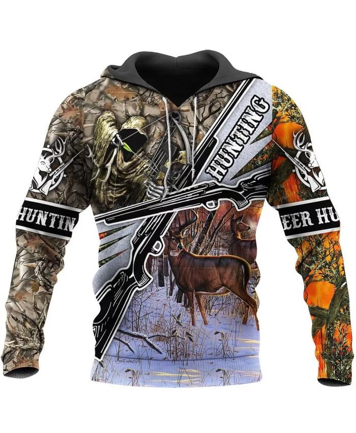 Fashion hoodie deer hunting camouflage series 3D printed casual sweatshirt hoodie zipper hoodie unisex street casual sweatshirt