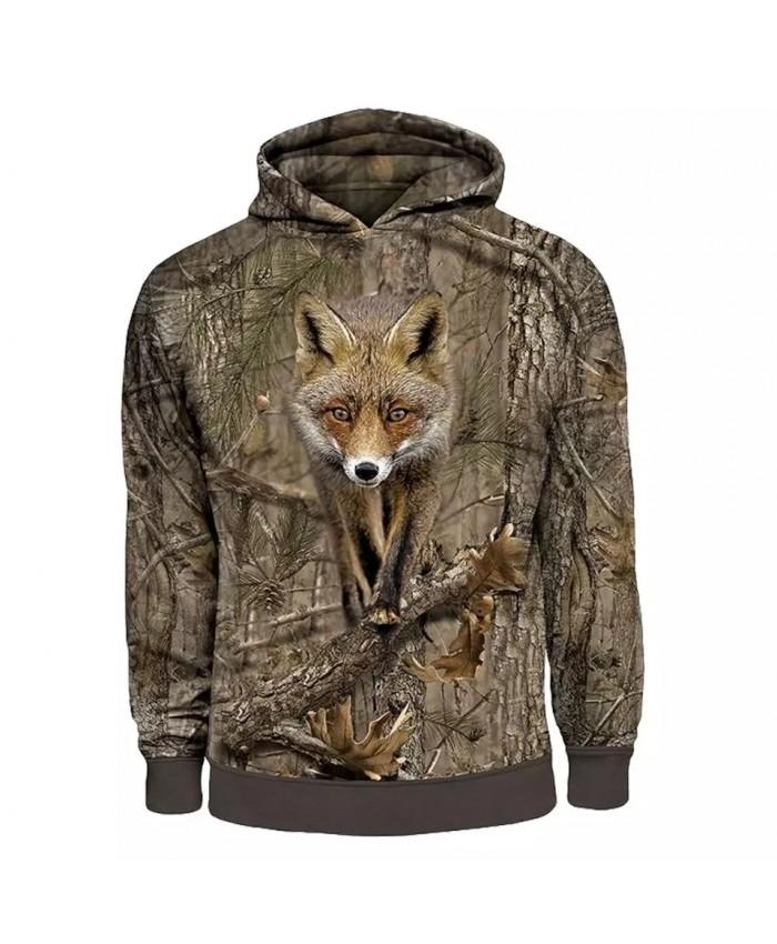 SONSPEE Men's Hoodies Animal Fox Hunting Camo 3D Print Casual Hip Hop Autumn Hoodie Coat Men Women Fashion Sweatshirt Tops