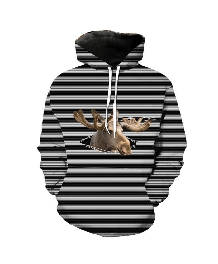 Men's Fashion 3D Hoodie Grey striped deer print fun sweatshirt