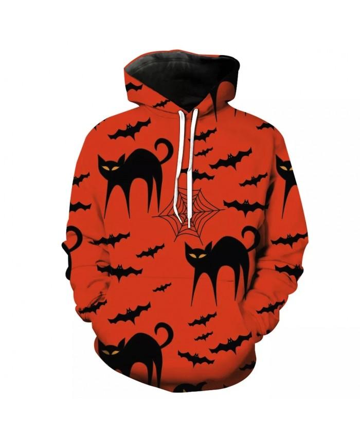 Black Bat Cat Print Men's Casual Red 3D Hoodie