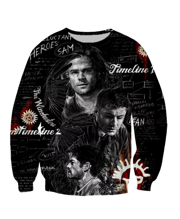 Supernatural  Fashion Long Sleeves 3D Print Hoodies Sweatshirts Jacket Men women tops
