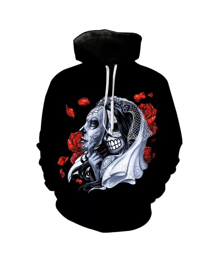 Red Fallen Leaves Grey Mask Skull Lady Print Fashion Hooded Sweatshirts