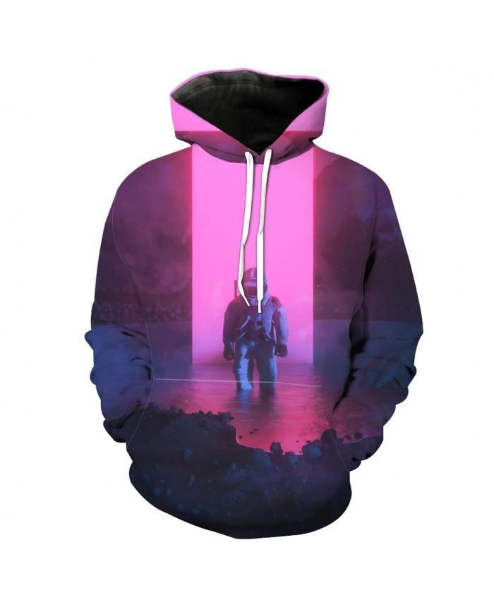 Casual Pink 3D Hooded Sweatshirt Fun Astronaut Print Fashion Sportswear