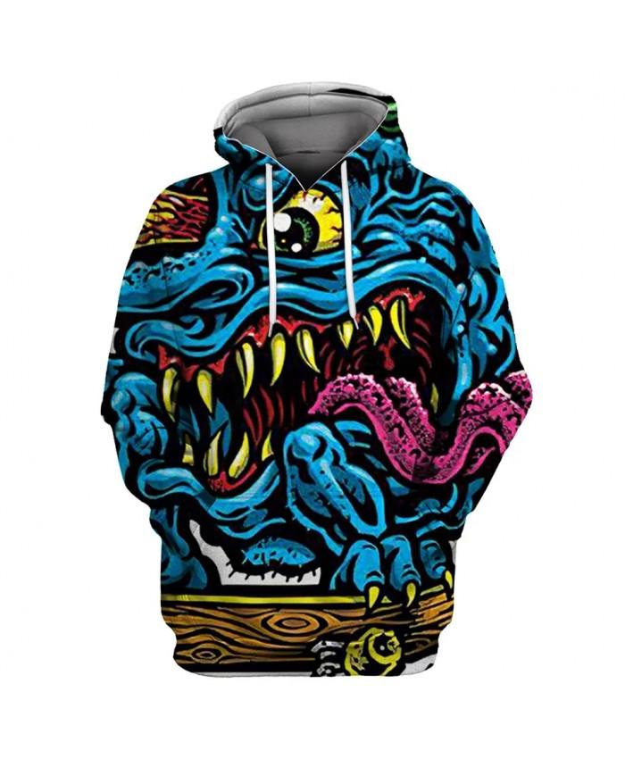 Yellow eyes long tongue blue monster print fun 3D hooded sweatshirts