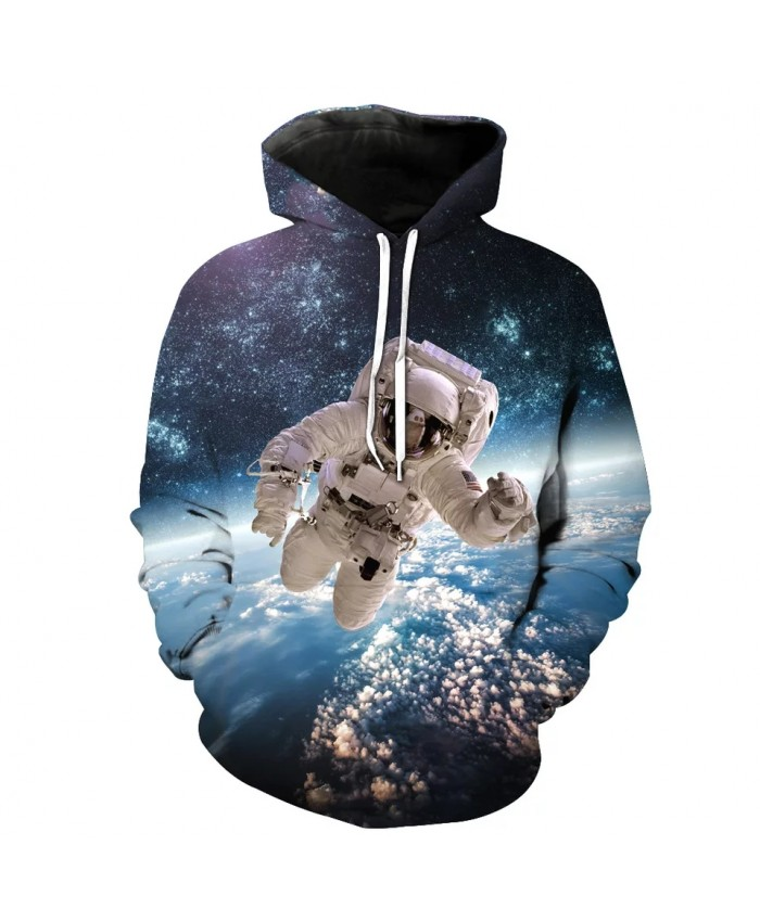 Blue Star Flying Astronaut Print Cool 3D Hooded Sweatshirts