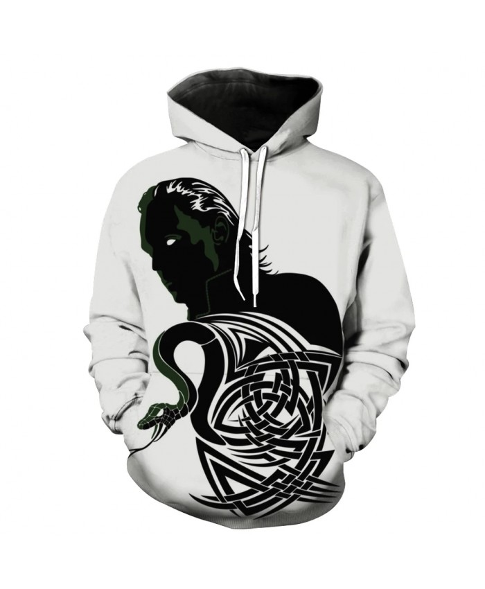 Men's Fashion 3D Hoodie Black white stitching Line snake print sweatshirt