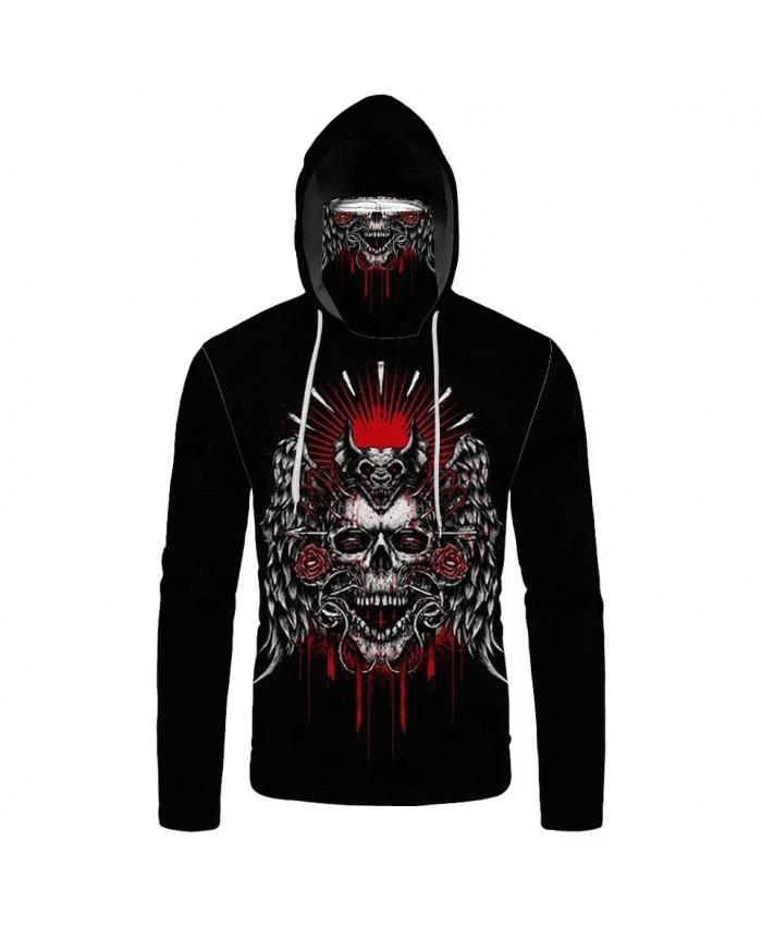 Men's Casual Black Sweatshirt Angel Wings Metal Skull Print Mask Hoodies
