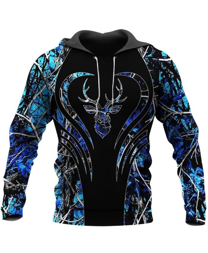 New fun deer hunting camouflage 3D printed sweatshirt hoodie zipper hoodie unisex fashion street casual sweatshirt