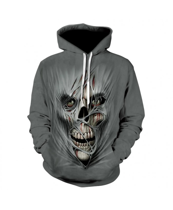 Men's long sleeve thin print hoodie spring fall 2021 high quality scary skull Halloween personality hoodie