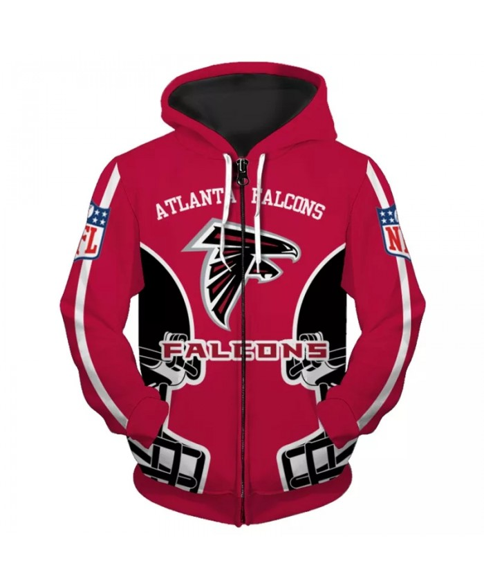 Atlanta Fashionable American Football Falcons Zipper hoodies Black helmet geometric hound print 3D sweatshirt