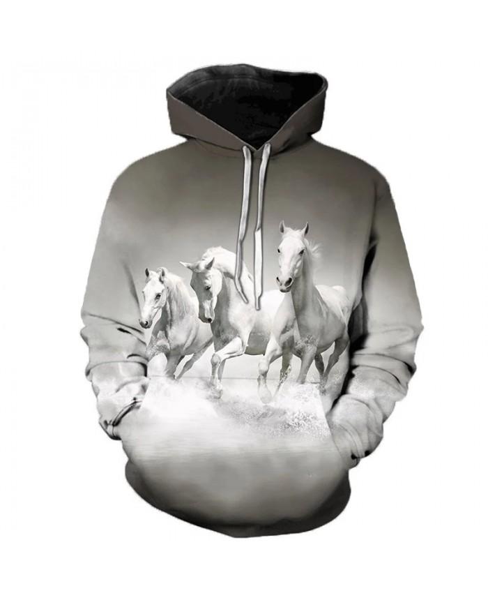 White Horse Animal Pattern 3D Printed Hooded Sweatshirts Unisex Outerwear Creative Hooded Men Fashion Casual Streetwear Hoodies