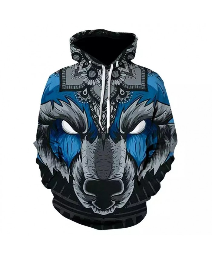 2021 New Hot Unisex 3d Hoodie Fashion 3d Printed Wolf Head Autumn And Winter Sportswear Casual Pullover