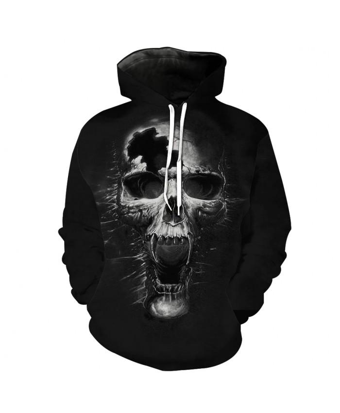 Men's Fashion 3D Hoodie Sonic boom broken howling skull print sweatshirt