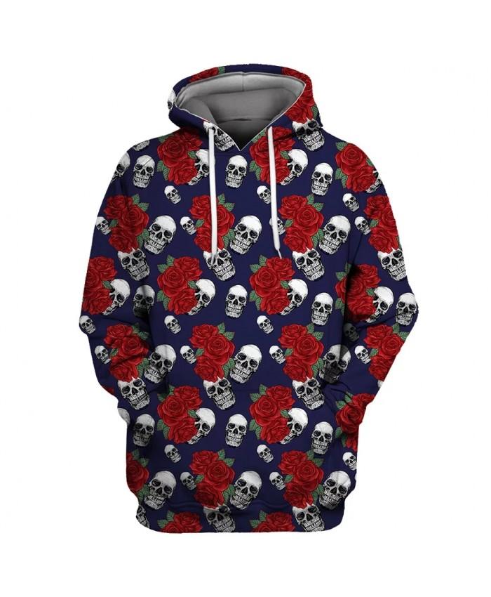 Red rose white skull print cool 3D hooded sweatshirt