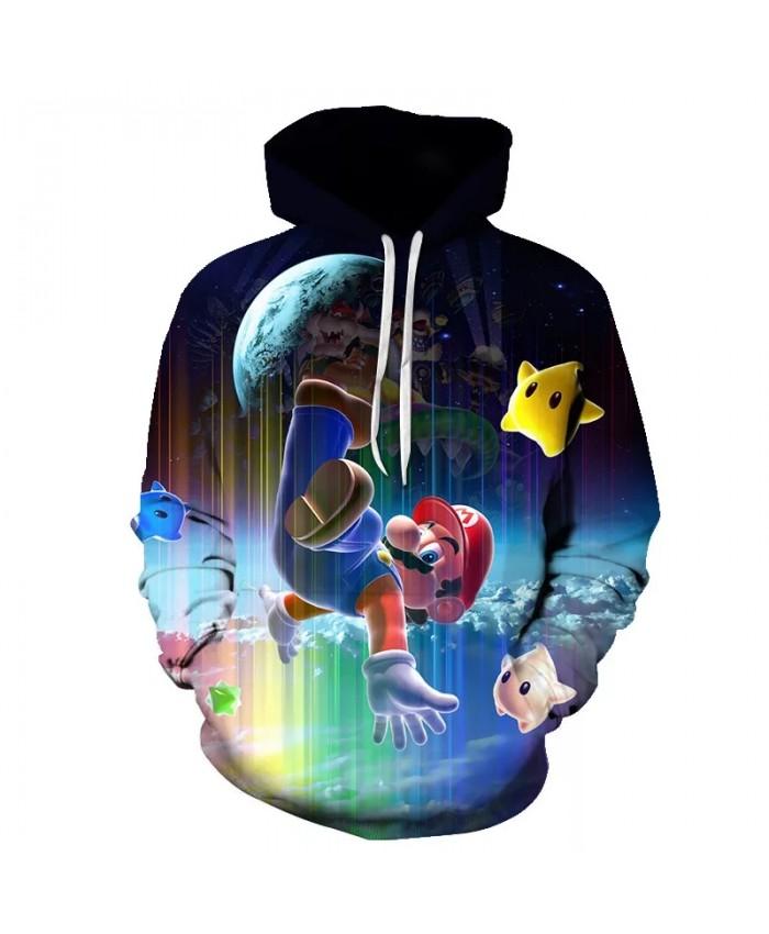 3D Mario Crazy Adventure Game Print Male Female Funny Sweatshirt Costume Mens Cartoon Hoodies Clothing Homme Clothes Streetwear