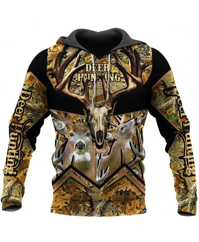 New Deer Hunting 3D Full Set Printed Fashion Sweatshirt Hoodie Zipper Hoodie Fun Unisex Street Casual Sweatshirt