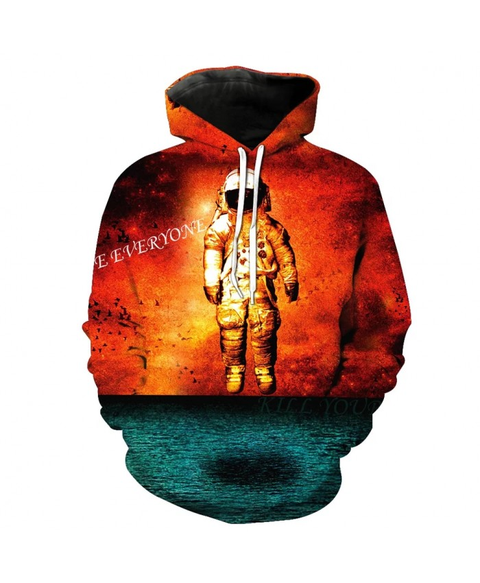 Blue lake surface red flame white astronaut print casual 3D hooded sweatshirt