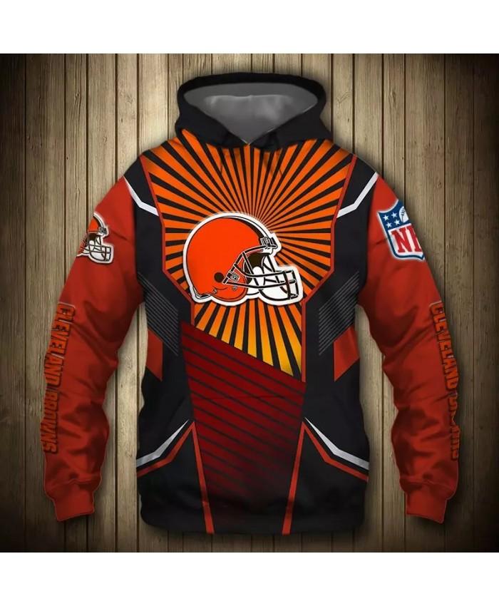 Cleveland fashion cool Football 3d hoodies sportswear Orange black stitching red helmet print Browns sweatshirt