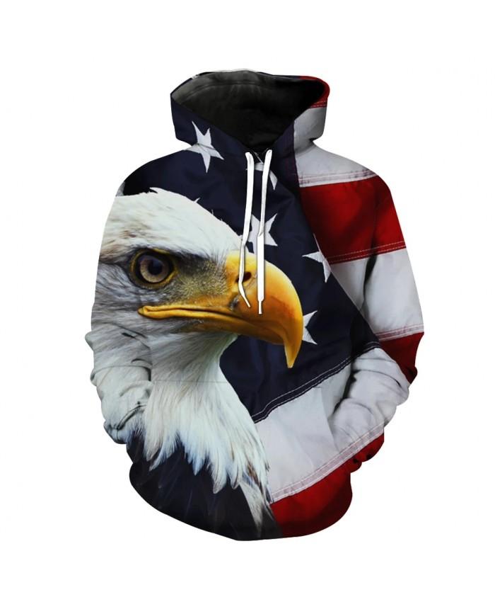 Bald Eagle American Flag Stitching Fun 3D Hooded Sweatshirt