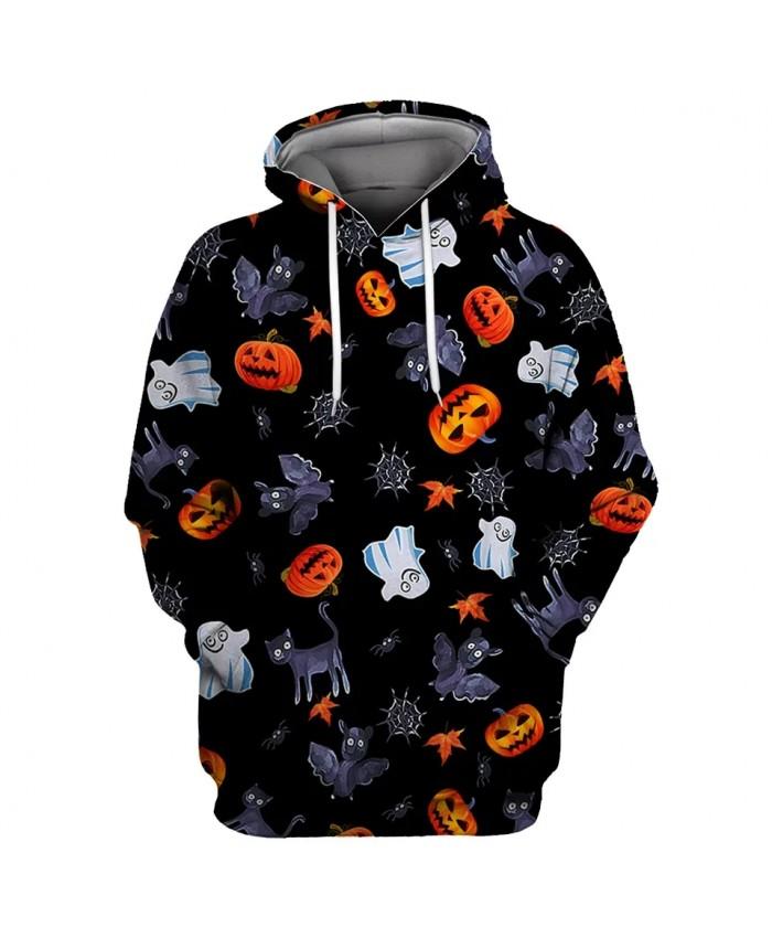 Cartoon smiling pumpkin black bat white ghost print fashion 3D hooded sweatshirts