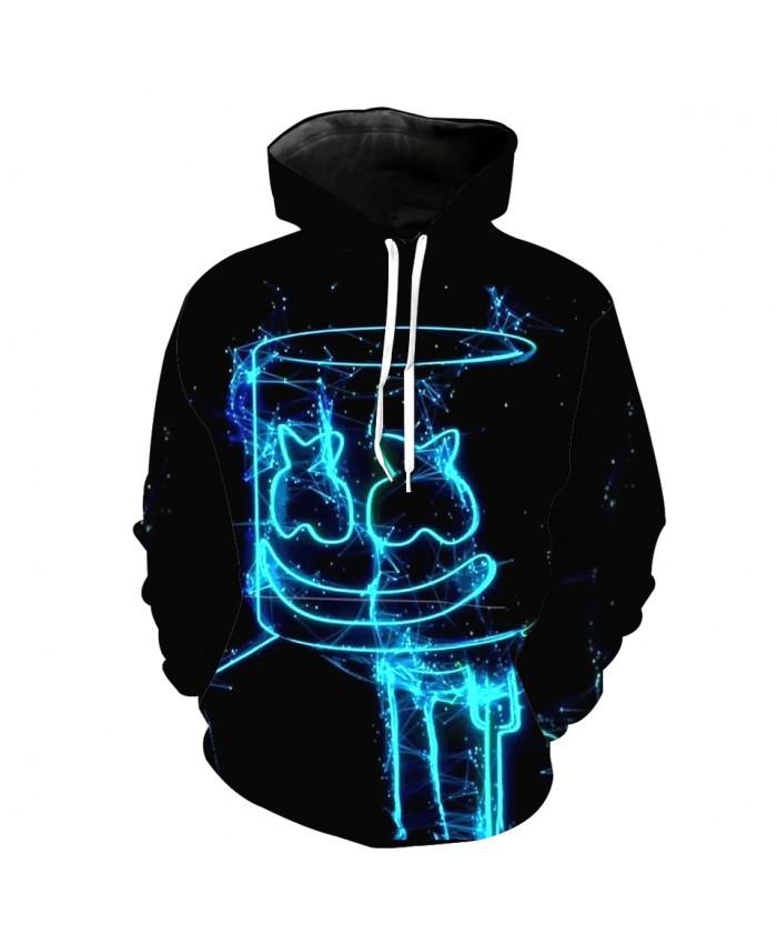 Men's Fashion 3D Hoodie Blue light stick smiley print sweatshirt