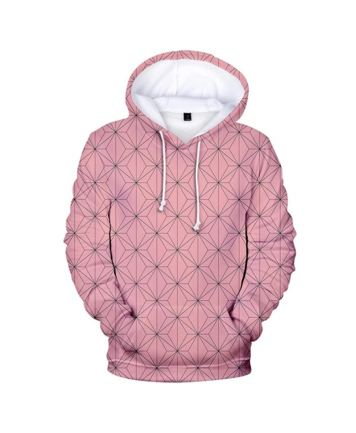 Casual Autumn 3D Ghost Blade Hoodies Men Women Pink plaid Streetwear Sweatshirt 3D Kids Comic Demon Slayer children Hooded Tops