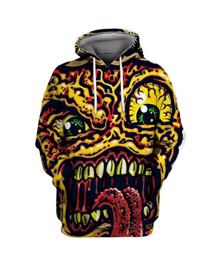 Stitching design graffiti yellow monster print fashion 3D hoodie