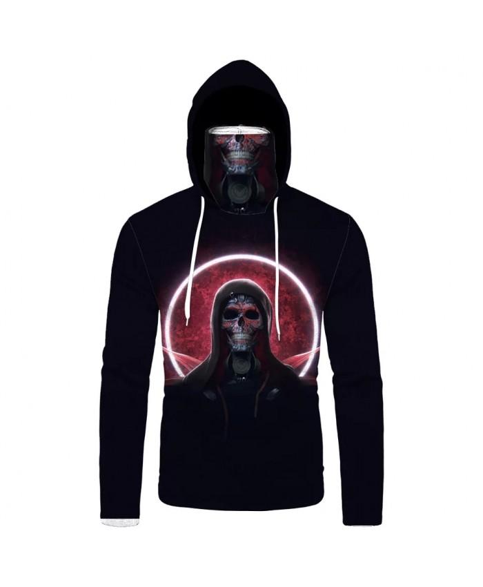 Red sun black skull print men's cool black mask hoodies casual sweatshirts
