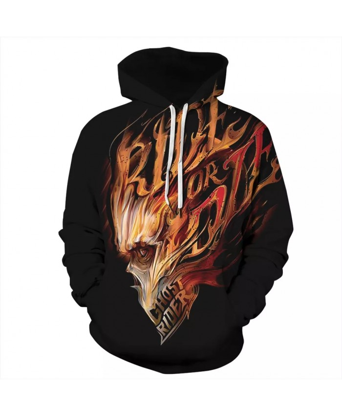 Ghost Rider 3D Print Hoodies Sweatshirts Autumn Winter Men Women Hooded Clothing Plus Size S-3XL