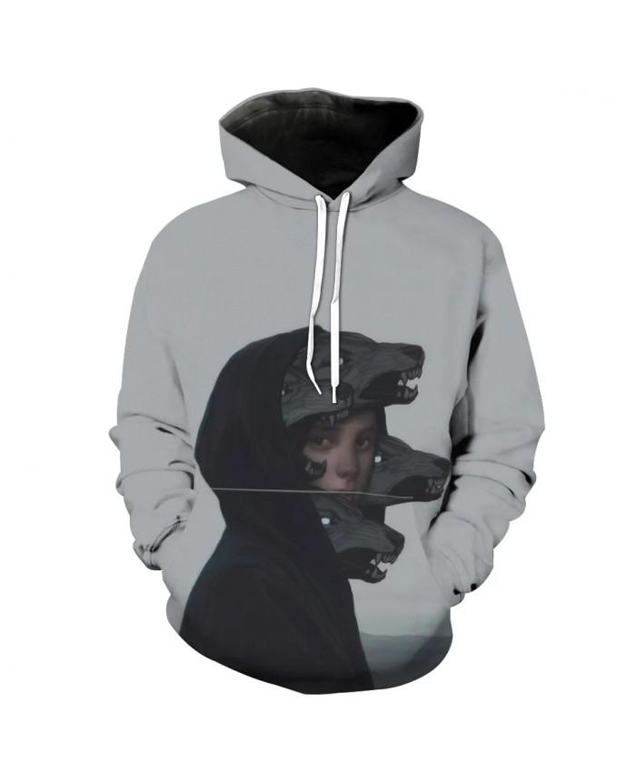 Gray men's casual simple hooded sweatshirt dog print streetwear