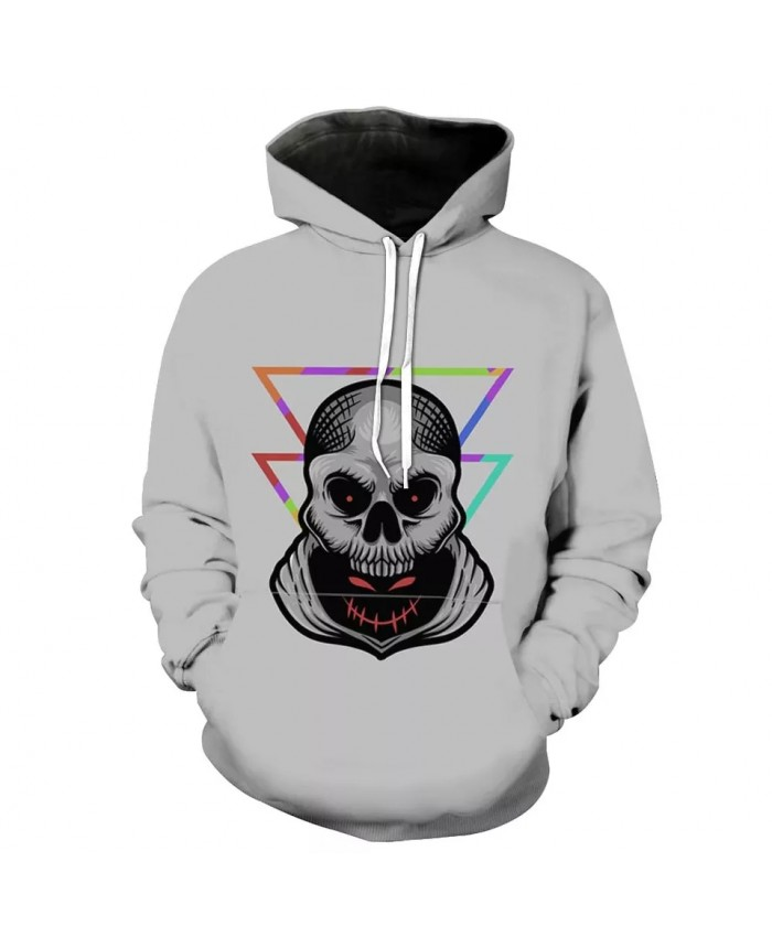 Men's Fashion 3D Hoodie Color triangle line skull print sweatshirt