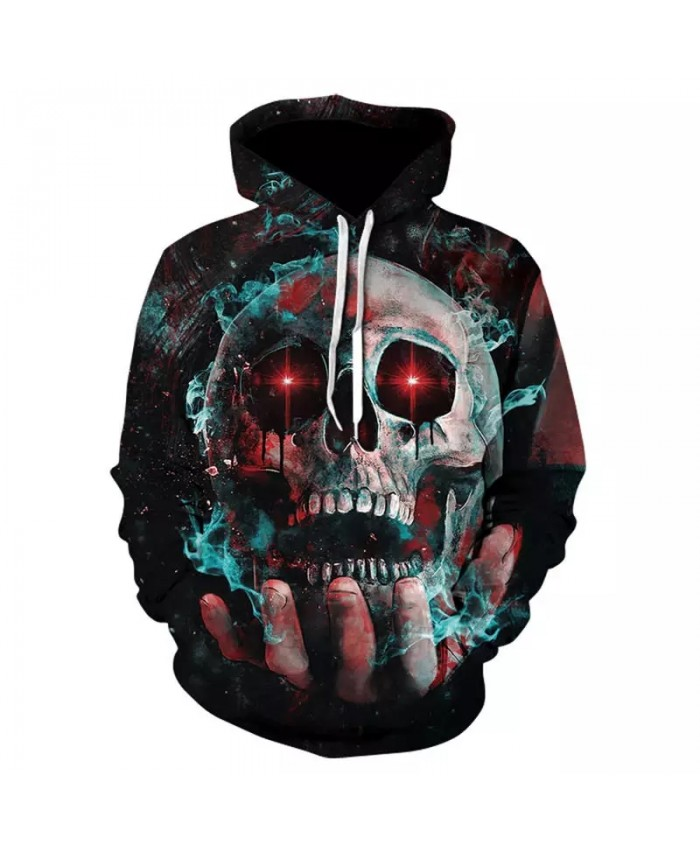 2021 Fall New Unisex Hoodie 3d Skull Print Fashion Casual Halloween Horror Party Long Sleeve Pullover Plus Size 4xl