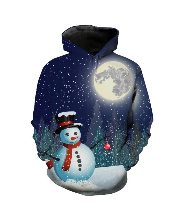 Soft Moonlight Cute Snowman Print Fashion 3D Hooded Sweatshirt