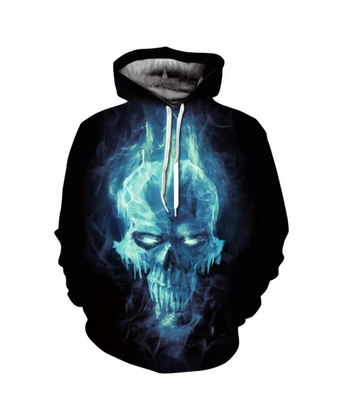 Skull series men spring personality long sleeve print hoodie fashion street wear hip hop skateboard hoodie