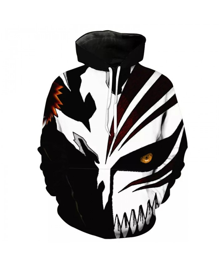 Classic black and white stitching wolf mask print fashion 3D hoodies