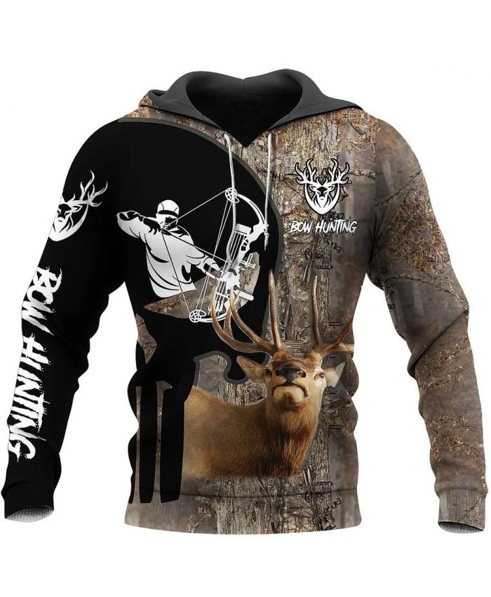 New unisex casual sweatshirt hunting deer camouflage 3D printed sweatshirt hoodie zipper hoodie fun street casual sweatshirt NO4